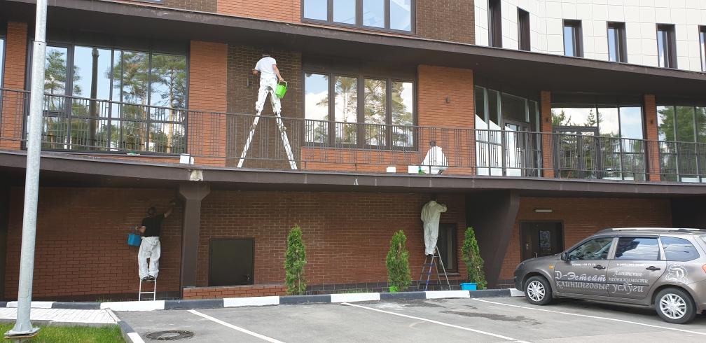 Удаление высолов с облицовочного кирпича, гидрофобизация фасада